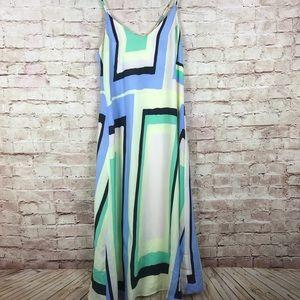 Maeve Dress Size S Maxi Sheer Geometric Yellow
